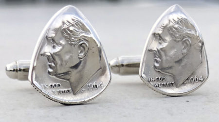 1964 US 90% Silver Dime Cufflinks 5 Coin Guitar Pick, Coin Guitar Picks