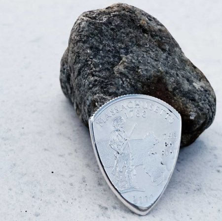 Massachusetts silver quarter Coin Guitar Pick, Coin Guitar Picks