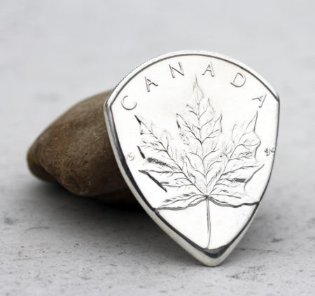 Canada Silver Maple Leaf Front Coin Guitar Pick, Coin Guitar Picks