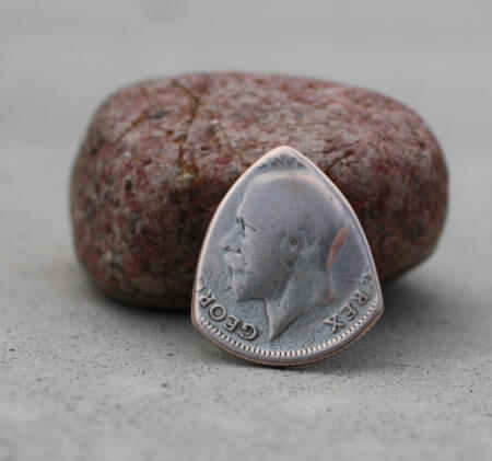 1926 UK 50% Silver Sixpence Coin Guitar Pick, Coin Guitar Picks